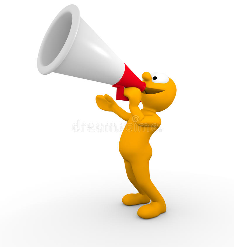 Make an announcement!. Character making an announcement through a megaphone royalty free illustration