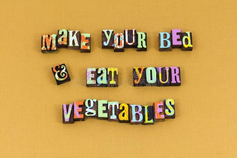 Make bed eat vegetables children typography stock image