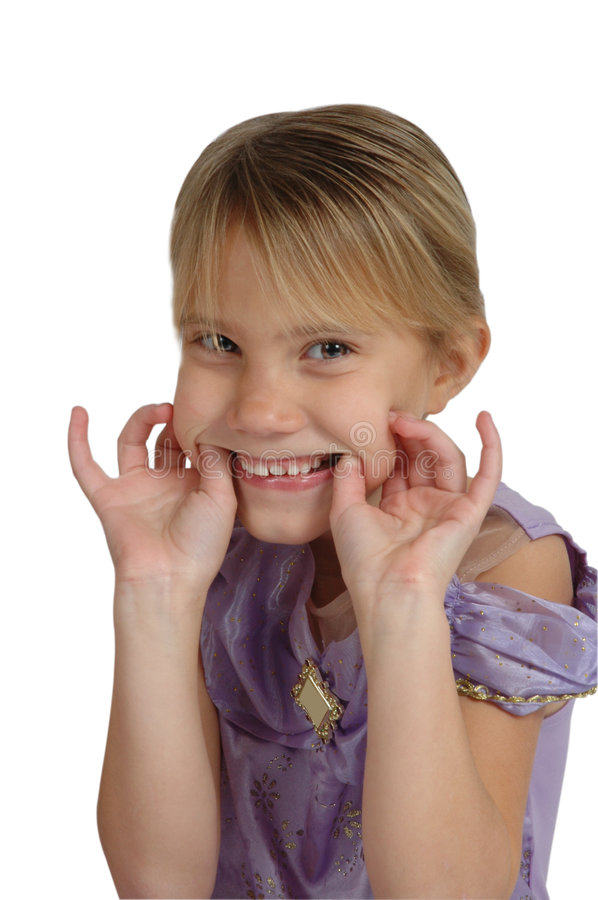 Make a face. Girl stretchs her mouth to make a face stock photography