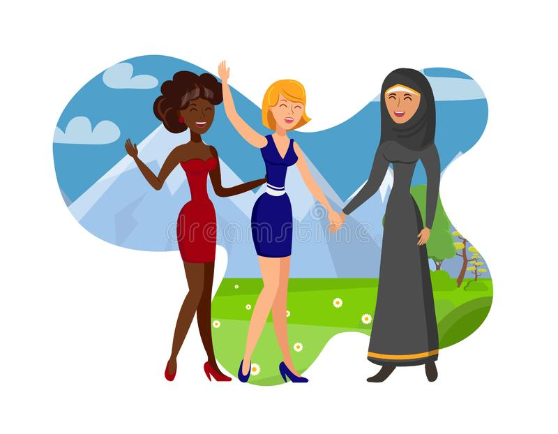 Make Foreign Friends Color Vector Illustration. Smiling Ladies Cartoon Characters Isolated on White Background. Caucasian, African American Girls and Woman in royalty free illustration