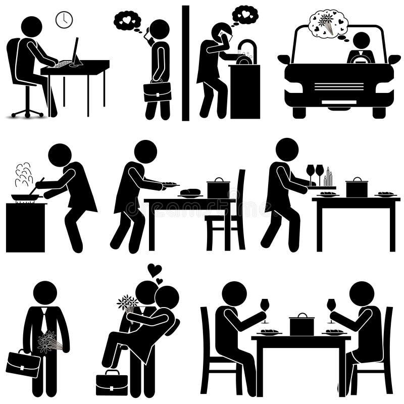 Make & fru/förälskade pojkvän & flickvän PINNEDIAGRAM vektor illustrationer