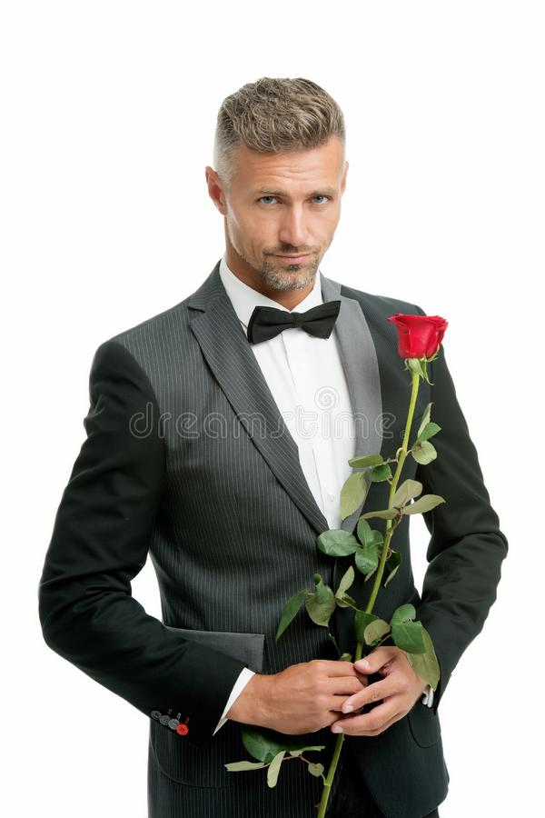 Make good first impression. Valentines day and anniversary. Romantic gentleman. Man mature confident macho with romantic stock photography