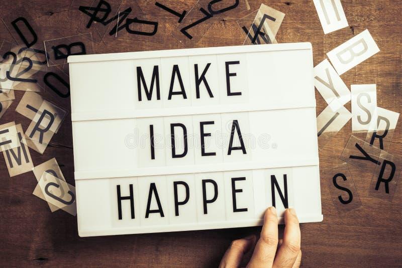 Make Idea Happen on Lightbox royalty free stock image