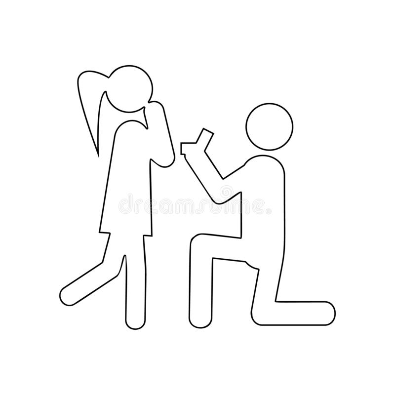 Make a marriage proposal icon. Element of Love for mobile concept and web apps icon. Outline, thin line icon for website design vector illustration