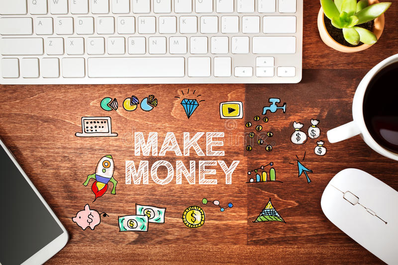 Make Money concept with workstation royalty free stock photography