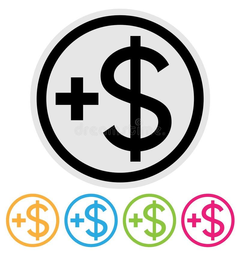 Make money icon. Plus dollar button isolated on white stock illustration