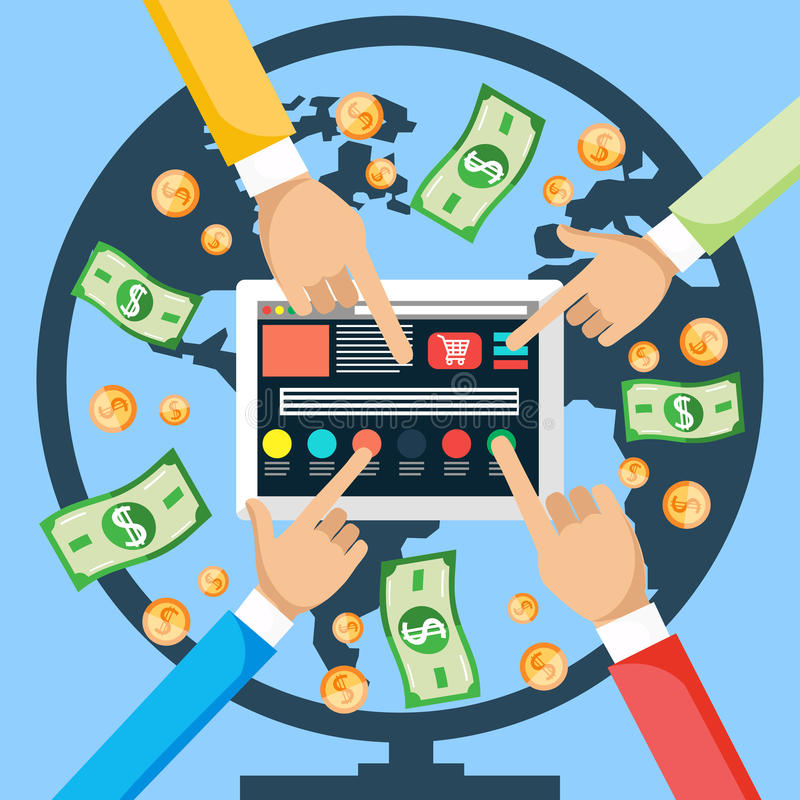 Make Money from Internet. Financial concept. Make money from world internet with tablet. Hands pushing a button on the tablet , and the money is coming from royalty free illustration