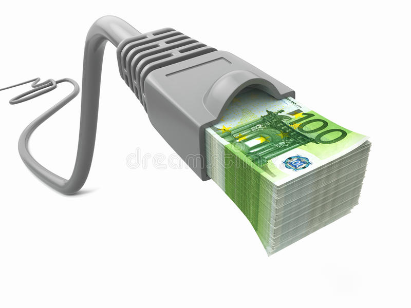 Make money online. Concept. Internet cable with euro stock illustration