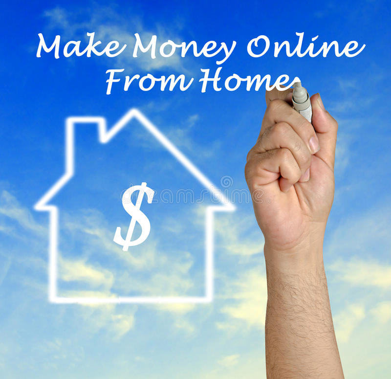 Make money online. From home royalty free stock photo