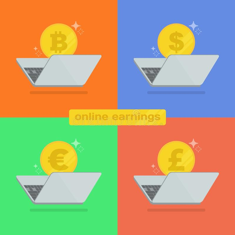 Make money online with the laptop illustration. Make money online with the laptop. Earning a different currency, bitcoin, dollar, euro and pound. Colorful flat vector illustration