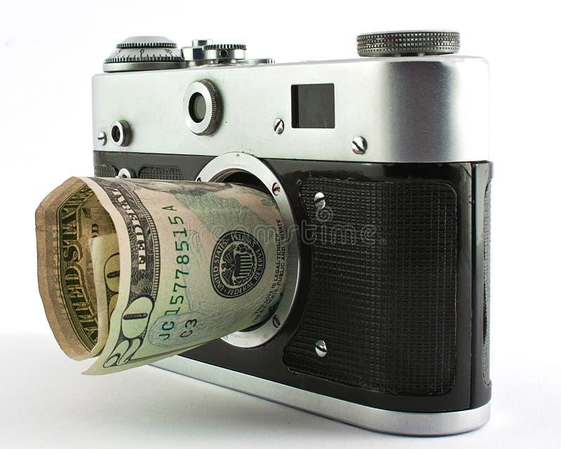 Camera and dollar stock image