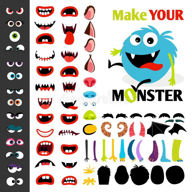 Make a monster icons set. With alient eyes, mouths, ears and horns, wings and hand body parts. Vector illustration royalty free illustration