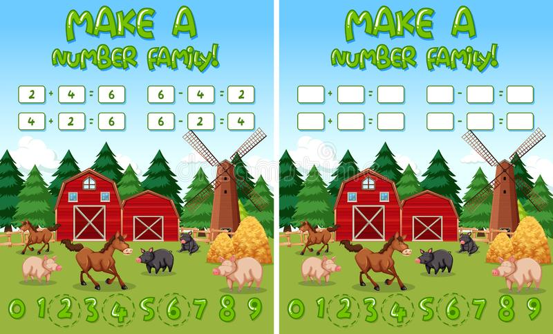Make a number family farm background vector illustration