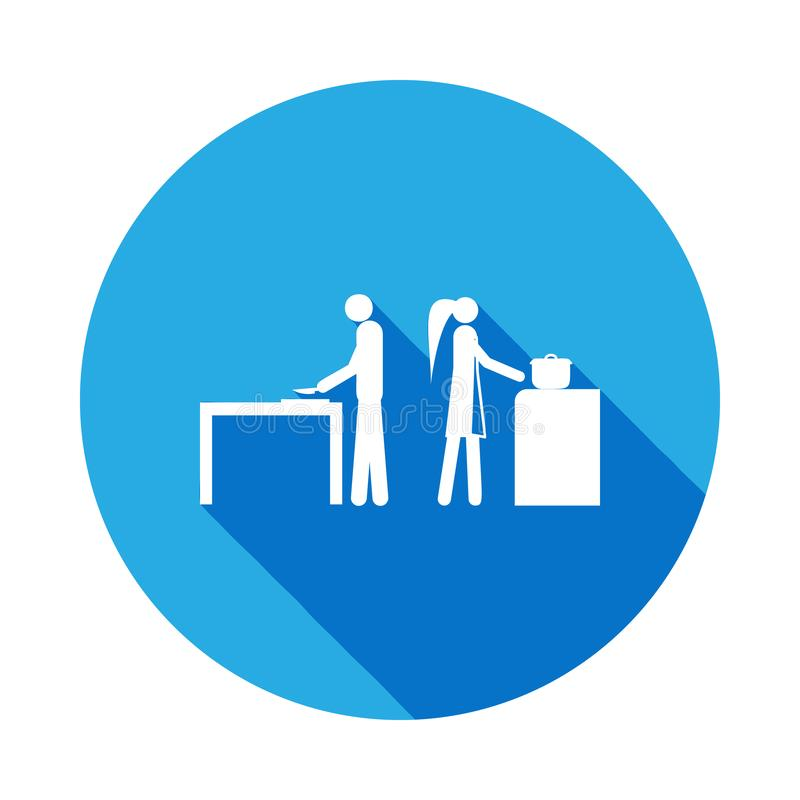 make och fru i köksymbolen Beståndsdel av den gifta folkillustrationen för liv Tecken och symbolsamlingssymbol för websites stock illustrationer
