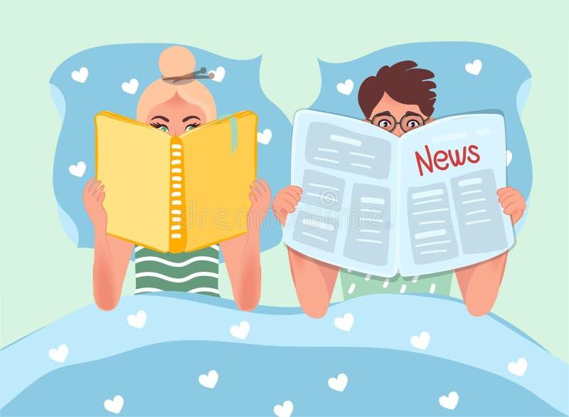 Make- och frulögn i säng och läsning Läseböcker och tidningar Läsa folkvektordiagram royaltyfri illustrationer
