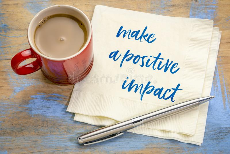 Make a positive impact stock images
