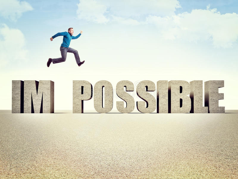Make it possible. Man jump over 3d possible word royalty free illustration