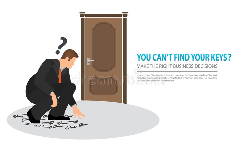 Make the right business decisions concept. Squatting vector flat businessman looking for the right key to open the closed door. royalty free illustration