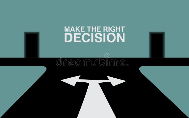 Make the right decision. Concept of the right decision stock illustration