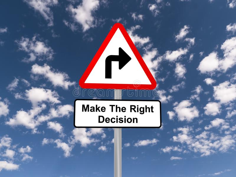 Make the right decision sign stock image