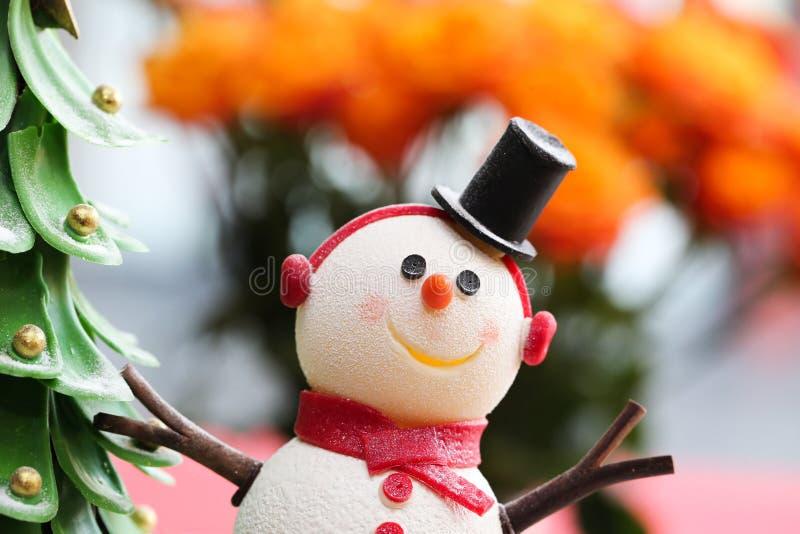 Snowman and Christmas Tree Cake royalty free stock image