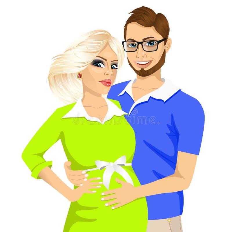 Make som trycker på buken av hans gravida fru stock illustrationer