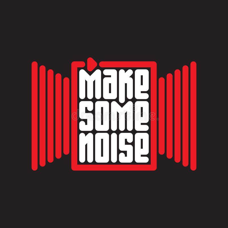 Free Make Some Noise - Music Poster With Red Button Stock Image - 114997631
