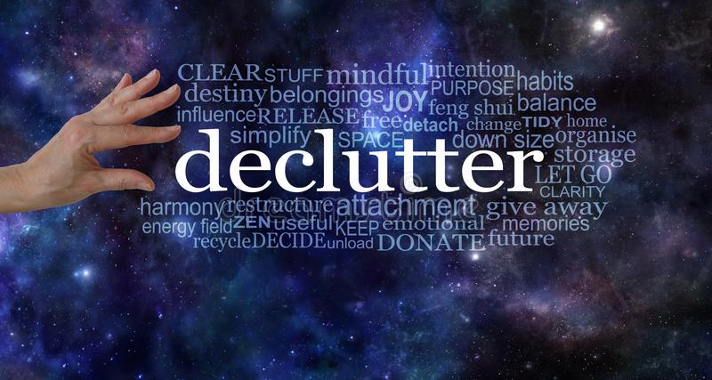 Make space in your life and declutter stock images