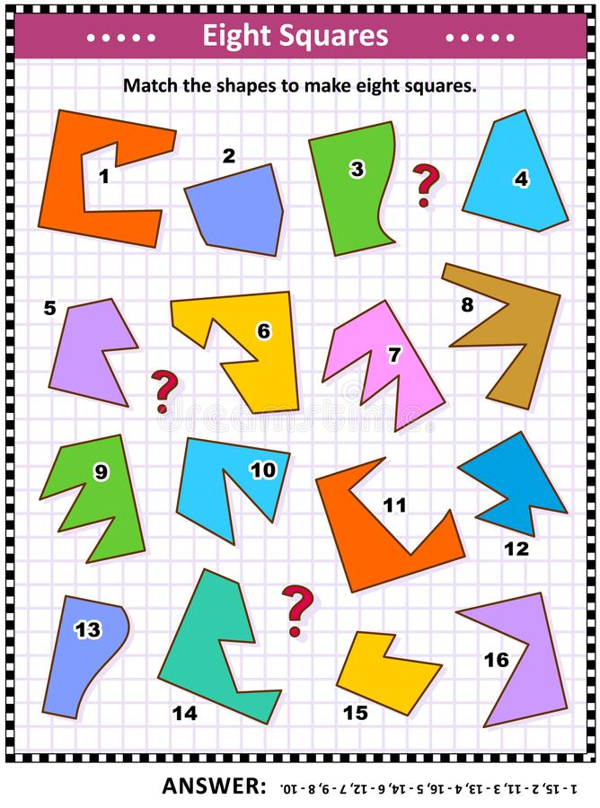 Make Squares Math Picture Puzzle Stock Vector - Illustration of ...