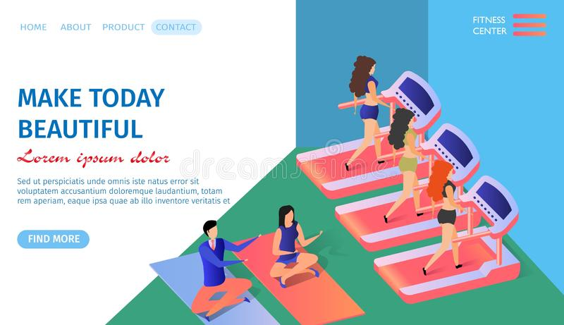 Make Today Beautiful Horizontal Banner. Fitness vector illustration