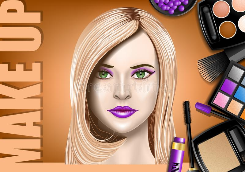 Make Up ads, with products and girl showing cosmetics work. Realistic Image. Resizible template royalty free illustration