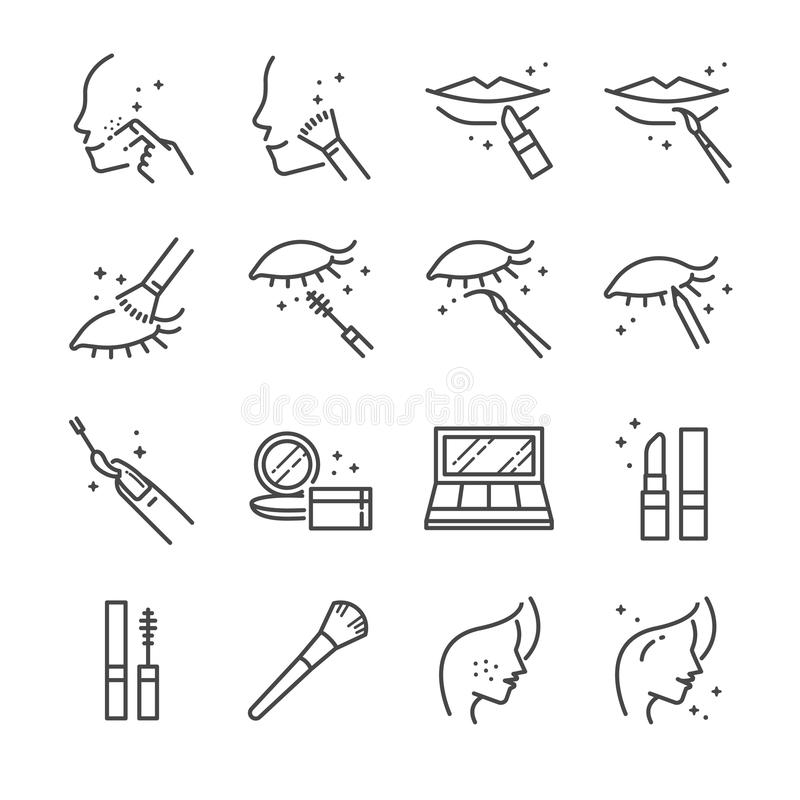 Free Make-up And Cosmetic Line Icon Set 1. Included The Icons As Beauty, Woman Face, Lipstick, Eyeshadow, Eye Liner Foundation, Tools A Royalty Free Stock Photo - 102462565