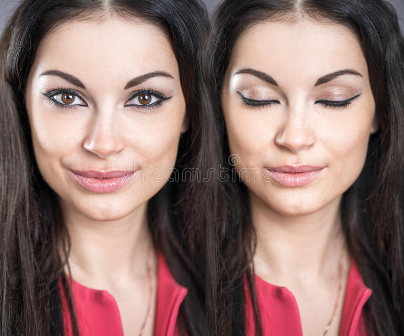 Make-up, arrows on clauses. Collage makeup women, Portrait of a young beautiful brunette girls with closed eyes. Make-up, arrows on clauses stock images
