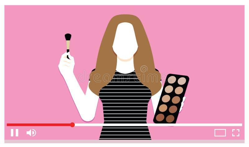 Make Up Artist On Internet Video. Vector Make Up Artist On Internet Video stock illustration