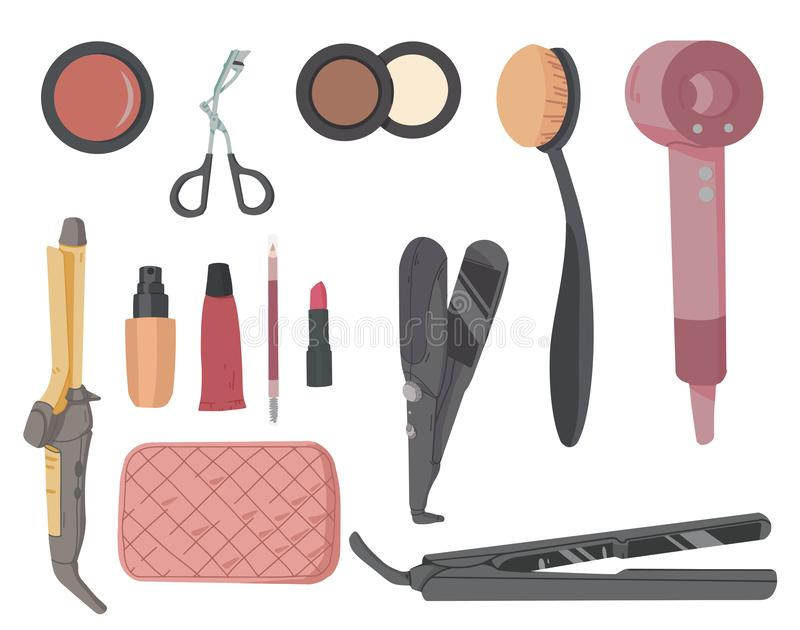 Make-up artist kit. Hair styling accessories set. Cosmetic products eye shadow, lipstick, powder stock illustration