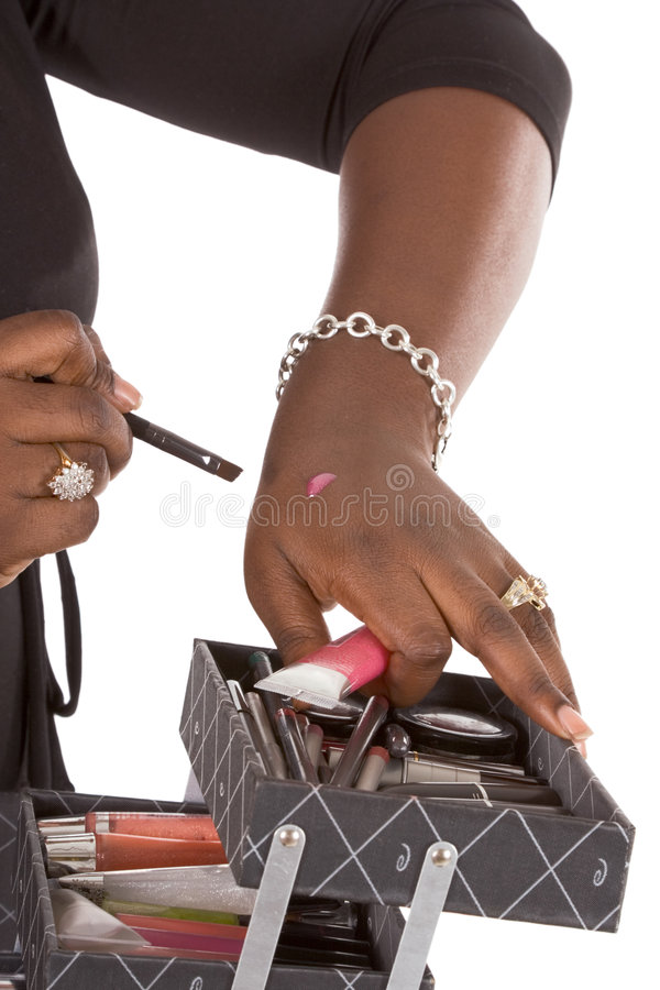 Free Make Up Artist Test Product Color On Her Hand Royalty Free Stock Image - 8181986