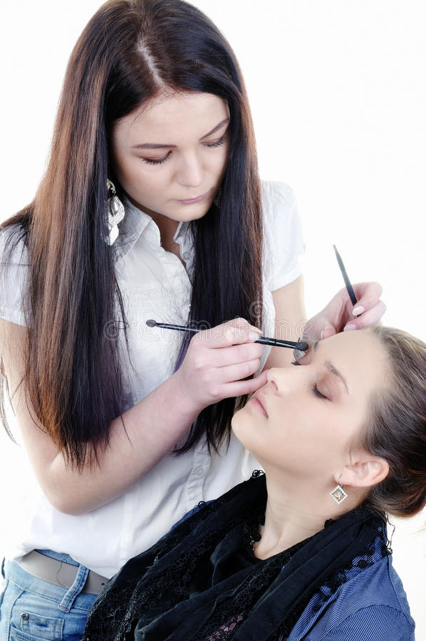 Download Make-up Artist Woman Fashion Model Apply Eyeshadow Stock Photo - Image of liner, concentrate: 23889148