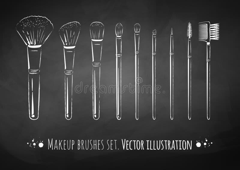 Make-up bürstet Ausrüstung lizenzfreie abbildung