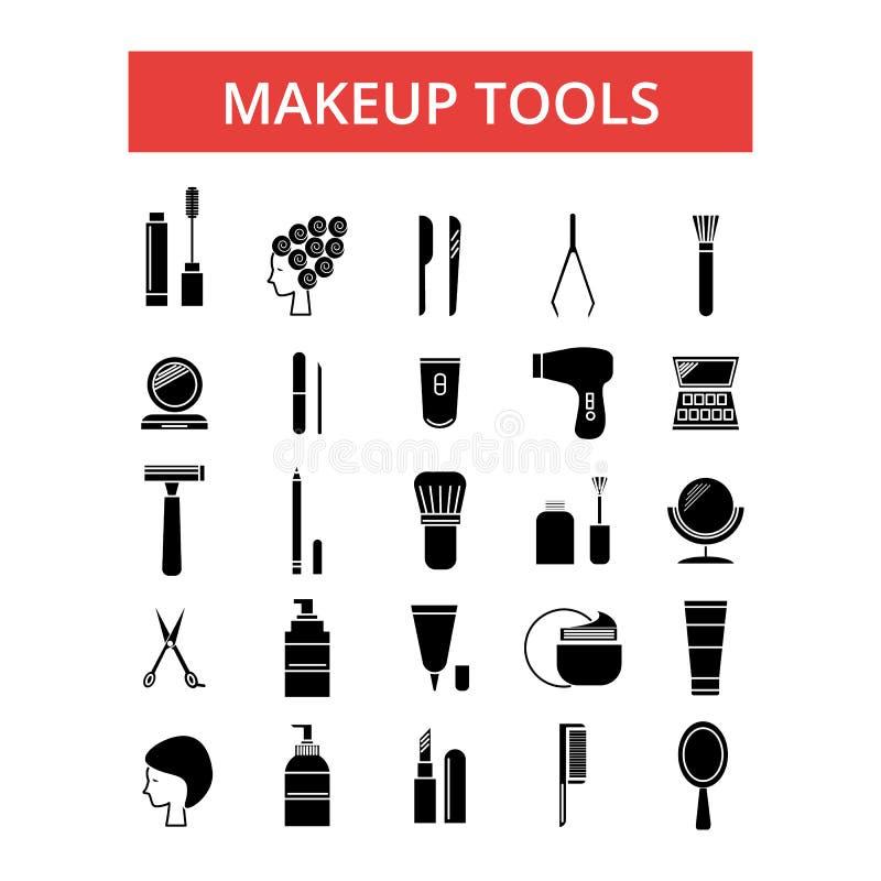 Make-up bearbeitet Illustration, dünne Linie Ikonen, lineare flache Zeichen vektor abbildung