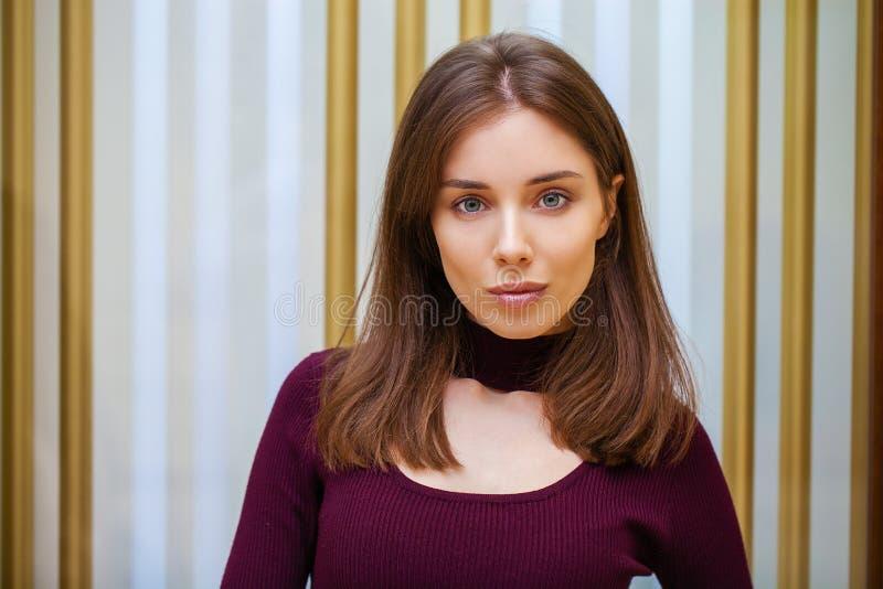 Make up beauty. Close up beautiful brunette fashion girl stock photo