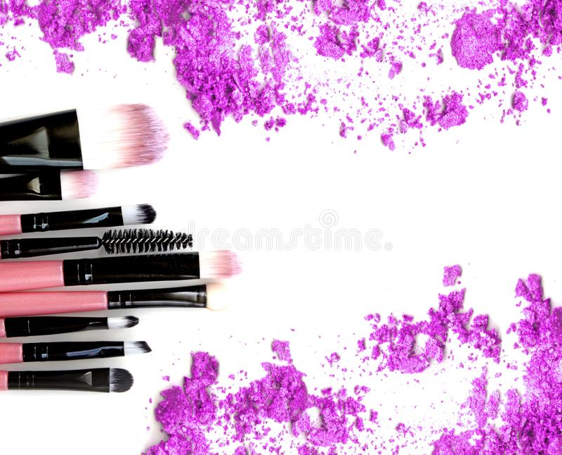 Make up blush and crushed powder. Purple powder royalty free stock images