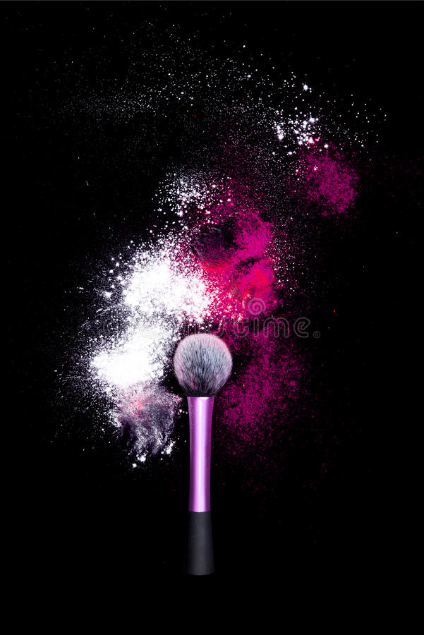 Download Make-up Brush With Colorful Powder On Black Background. Explosion Stars Dust With Bright Colors. White And Pink Powder Red Stock Photo - Image: 83717112