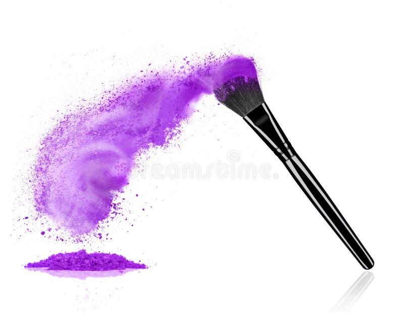 Make up brush with cosmetic powder splash royalty free stock image