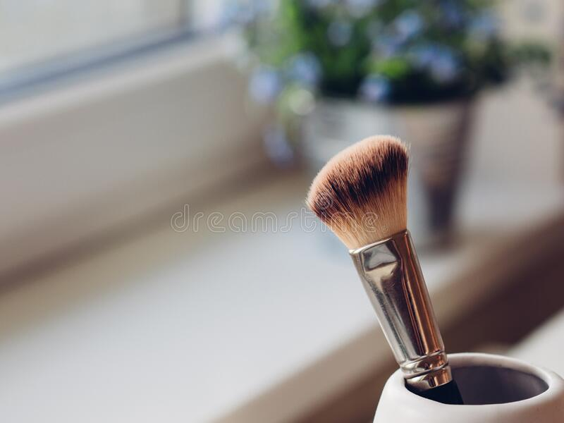Make-up brush in cup royalty free stock photos