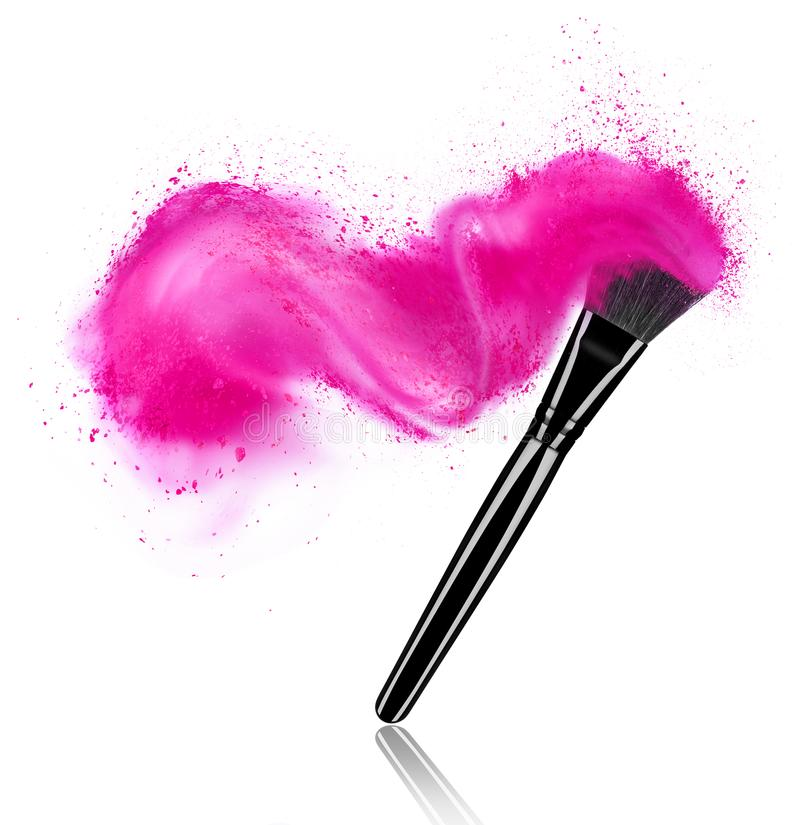 Make up brush with powder splash isolated on white background royalty free stock photography