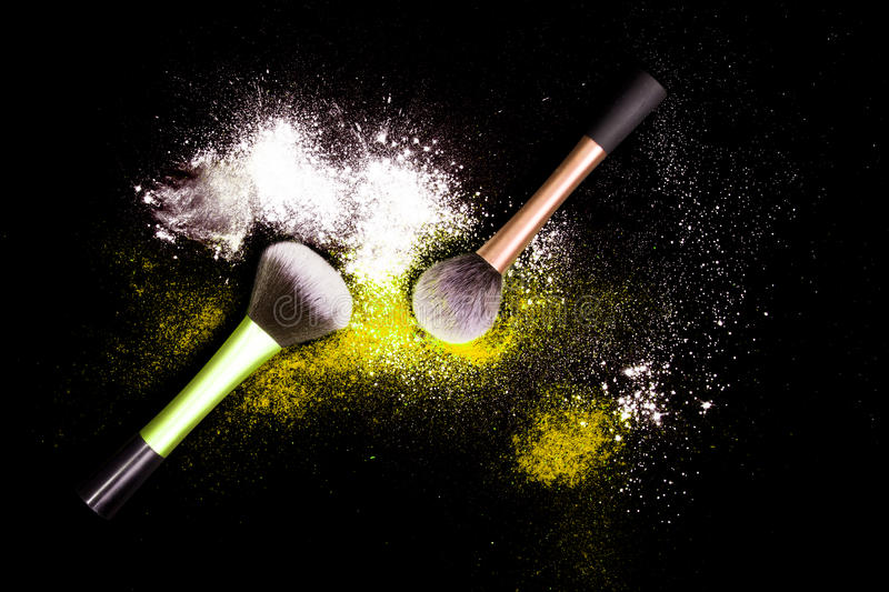 Download Make-up Brush With White Powder Spilled Glitter Dust On Black Background. Makeup Brush On New Year`s Party With Bright Colors. Stock Photo - Image: 83722390
