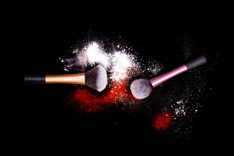 Download Make-up Brush With White Powder Spilled Glitter Dust On Black Background. Makeup Brush On New Year`s Party With Bright Colors. Stock Photo - Image: 83722405