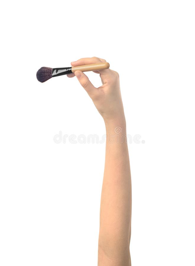 Make up brush in womens hand. Isolated stock image