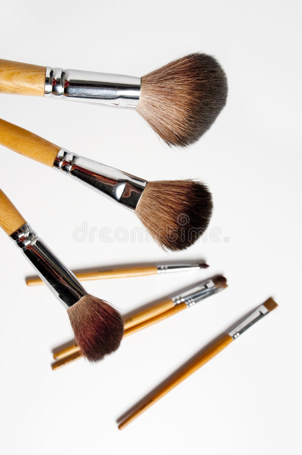 Make-up brushes. Professional cosmetic tool (The teacher professional make-up royalty free stock photo