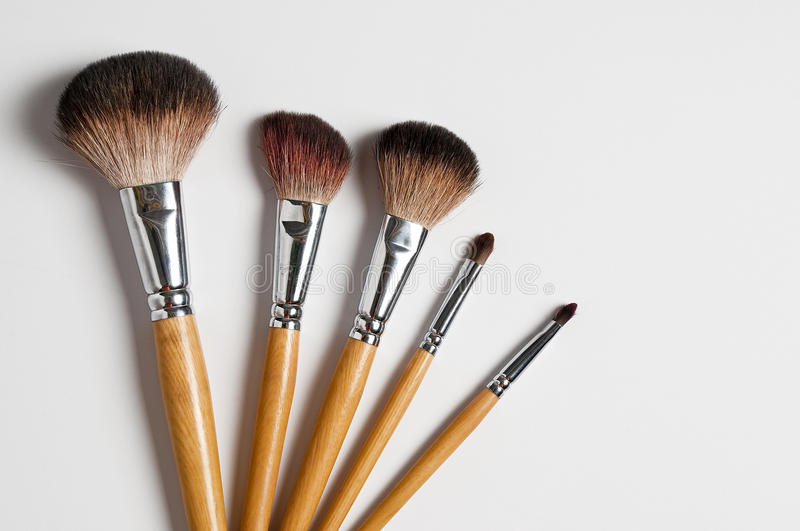 Make-up Brushes. Tools in a white background royalty free stock image